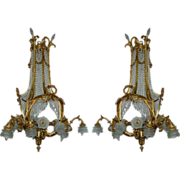 7550 Pair of 19th C. French Doré Bronze & Crystal Chandeliers