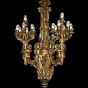 7454 French Belle Époque Bronze Chandelier c. 1880
