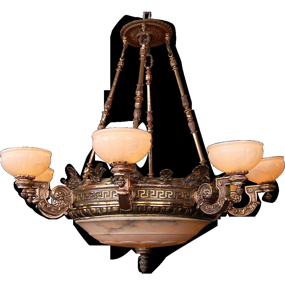 7459 19th C Bronze 8Arm Justice Chandelier with Alabaster Shades – Alabaster Lighting Chandeliers
