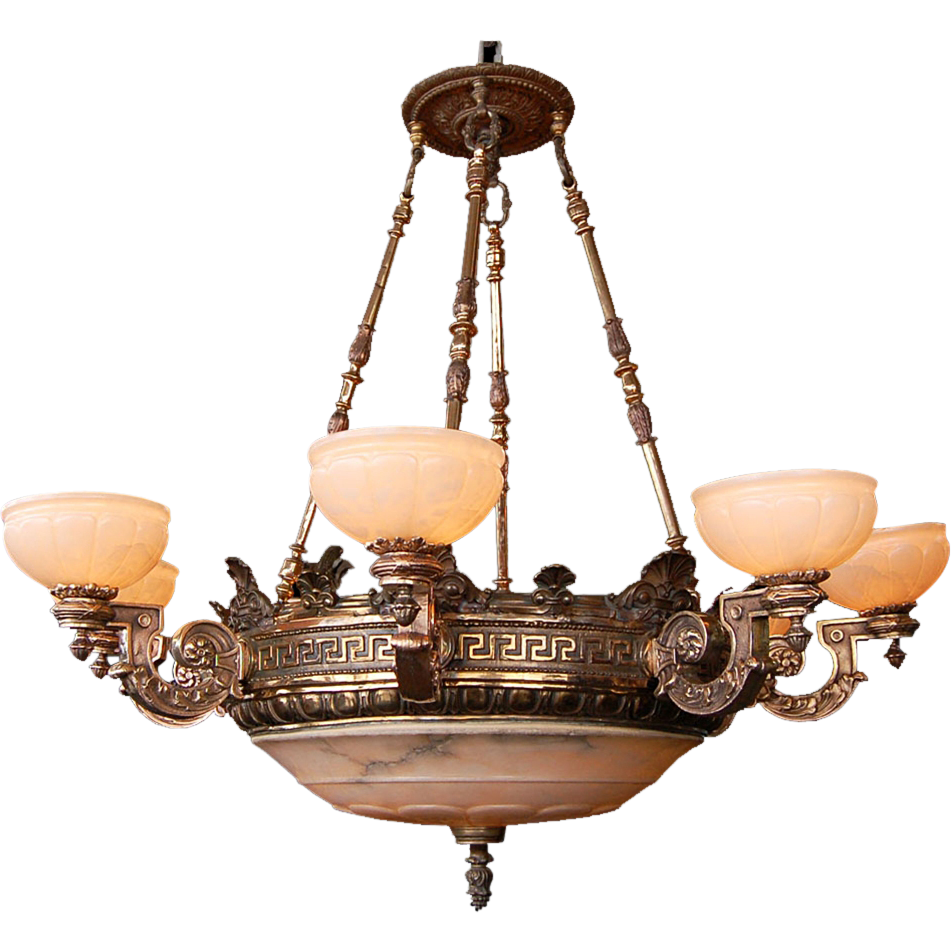 7459 19th C. Bronze 8-Arm Justice Chandelier with Alabaster Shades