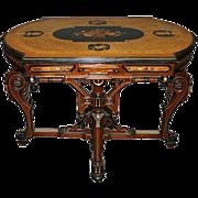 7469 Renaissance Revival Inlaid Table c. 1880