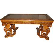 7473 19th C. American Victorian Carved Griffin Library Table by R.J. Horner c. 1880