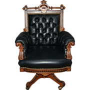 7478 19th C. Victorian American Inlaid Swivel Chair by Hunzinger