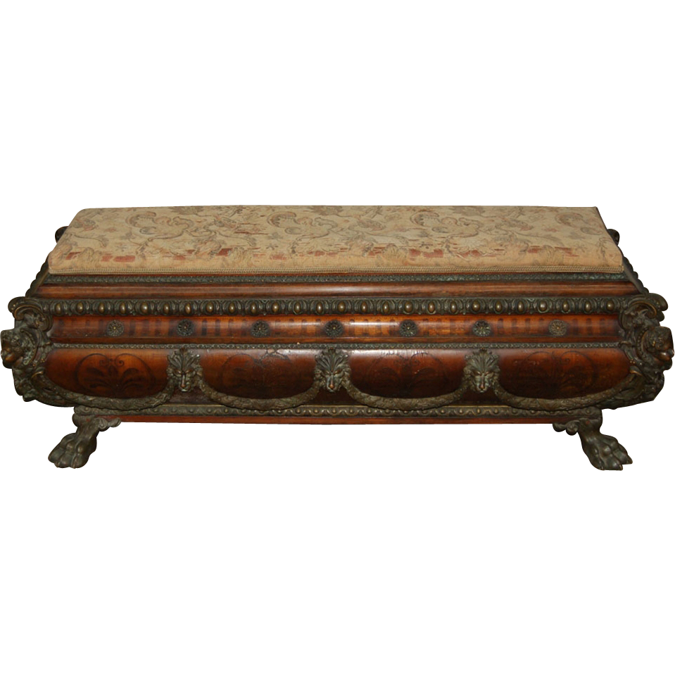 7480 Carved Bench with Lions Paw Feet & Bronze Lion Details