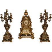 7483 3-Pc. 19th Century Matching Bronze Clock Set