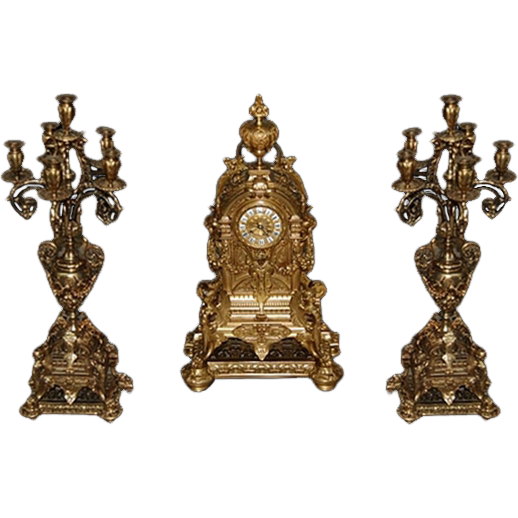 7483 3-Pc. 19th Century Matching Bronze Clock Set