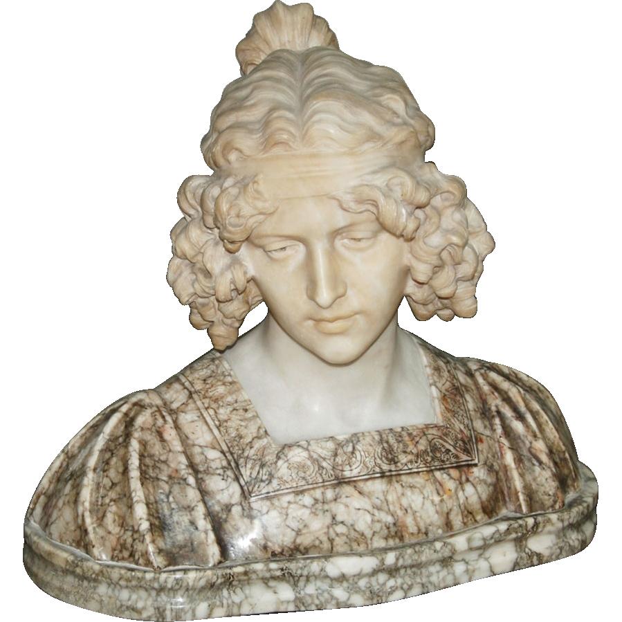 7485 Elegant Solid Marble Bust of Female