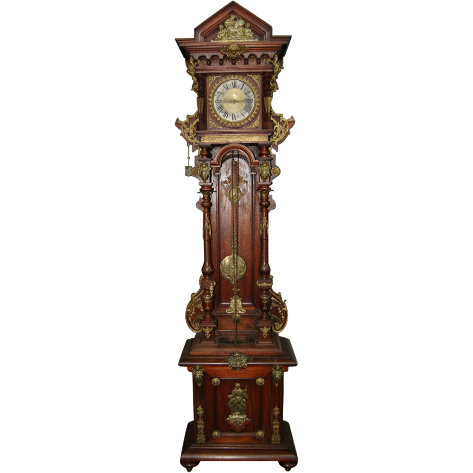 7488 American Victorian Highly Carved Grandfather Clock c. 1890