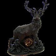 7492 19th C. Antique Deer Clock