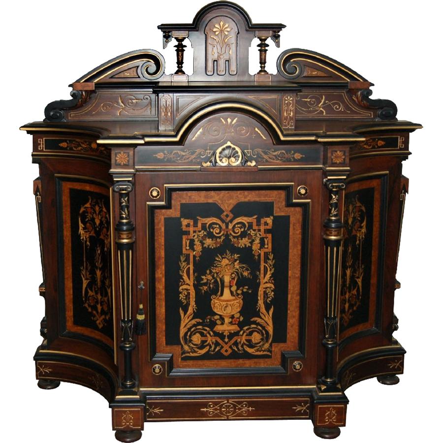 7493 Victorian Inlaid Cabinet with Bronze Trim c. 1890