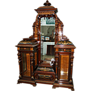 7495 Pottier and Stymus Rosewood Renaissance Revival Drop Front Inlaid Cabinet