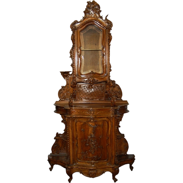 7371 French Hutch Cabinet with Floral Carvings