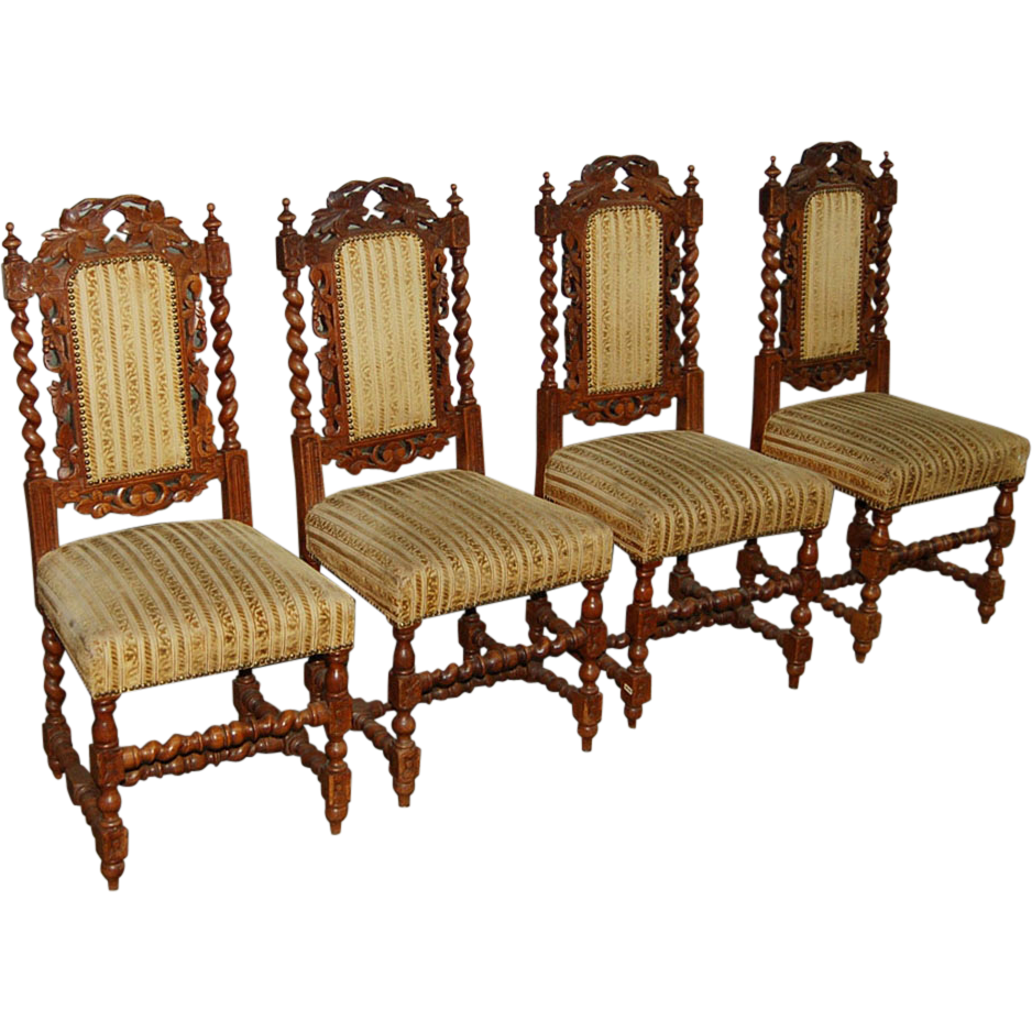 7502 Set of 4 Carved Dining Chairs