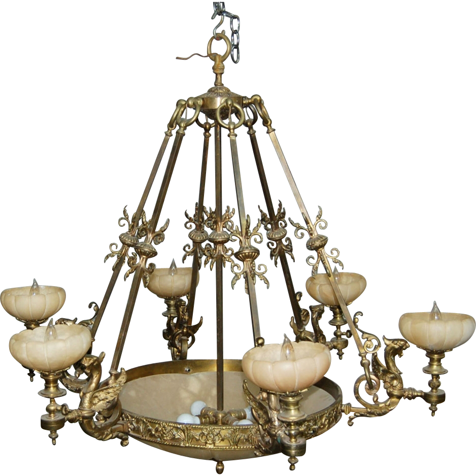 7503 19th C. Hanging Bronze 6-Arm Chandelier with Alabaster Shades