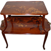 7515 Two Tier Inlaid Art Nouveau Table by Majorelle c. 1900
