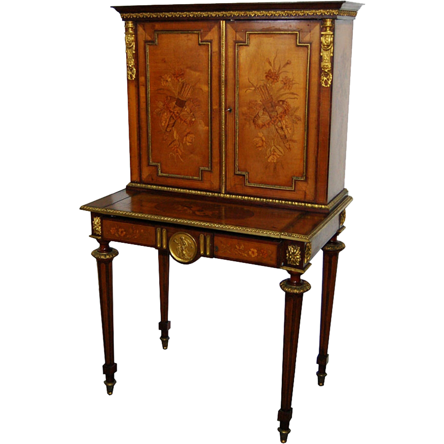 7516 19th C. French Empire Inlaid Writing Desk with Bronze Plaques