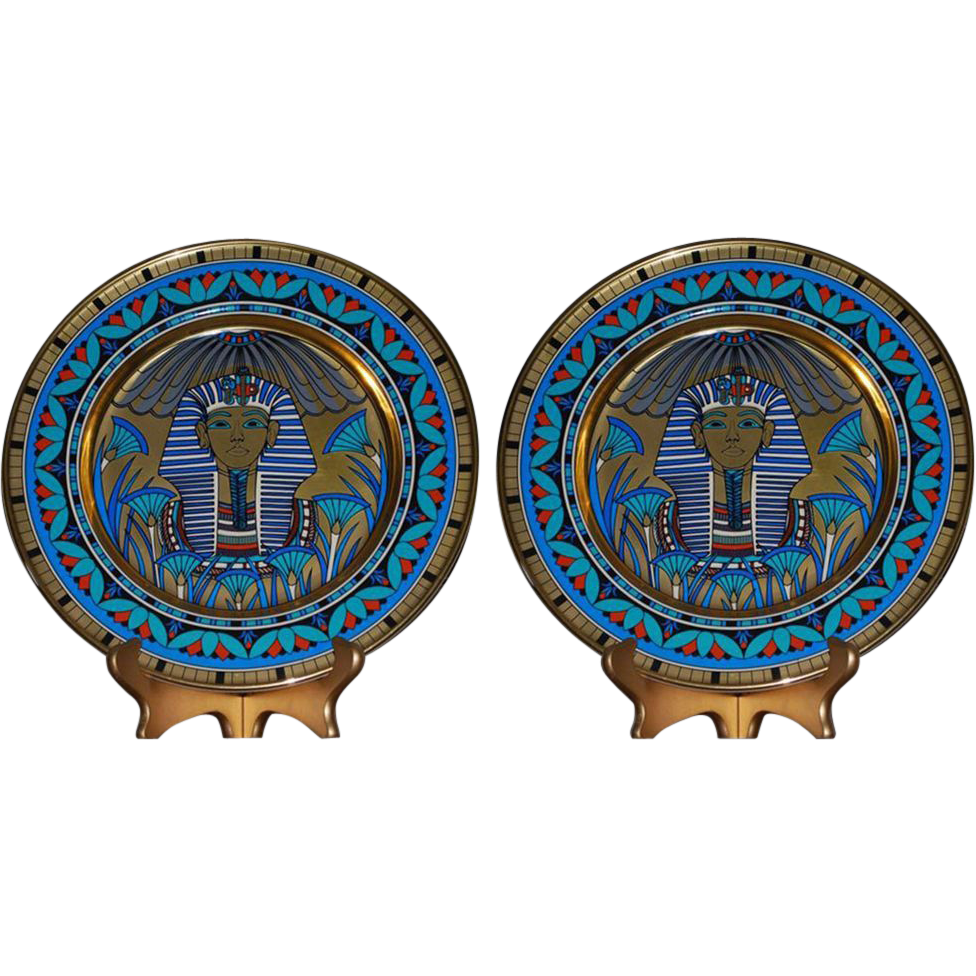 7522 Pair of Egyptian Revival Presentation Plates in Teal Blue