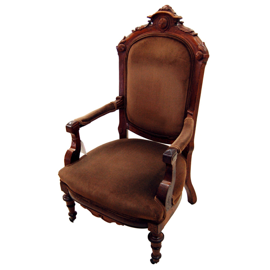 7545 19th C. Victorian Armchair Executed in Walnut