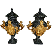 7553 Pair of Marble Urns with Heavy Gilding