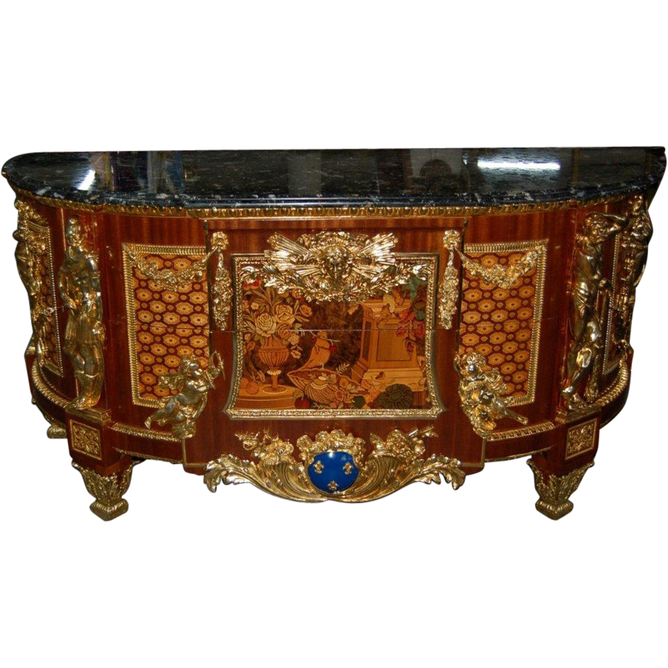 7554 Louis XVI Cabinet, Antique, with Inlaid Wood and Marble Top