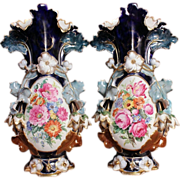 7561 Beautiful Pair of 19th C. Hand Painted Vases by Old Paris