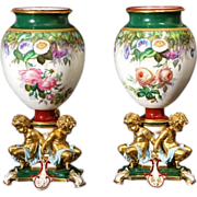 7562 Beautiful Pair of 19th C. Hand Painted Vases by Old Paris