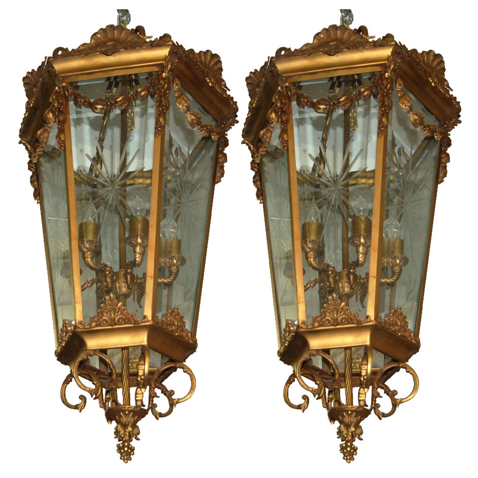 7566 Pair of Antique 19th C. Hanging Bronze Lanterns