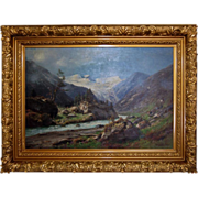 7569 19th C. Oil on Canvas Landscape Painting Signed Carl Schultz 1897
