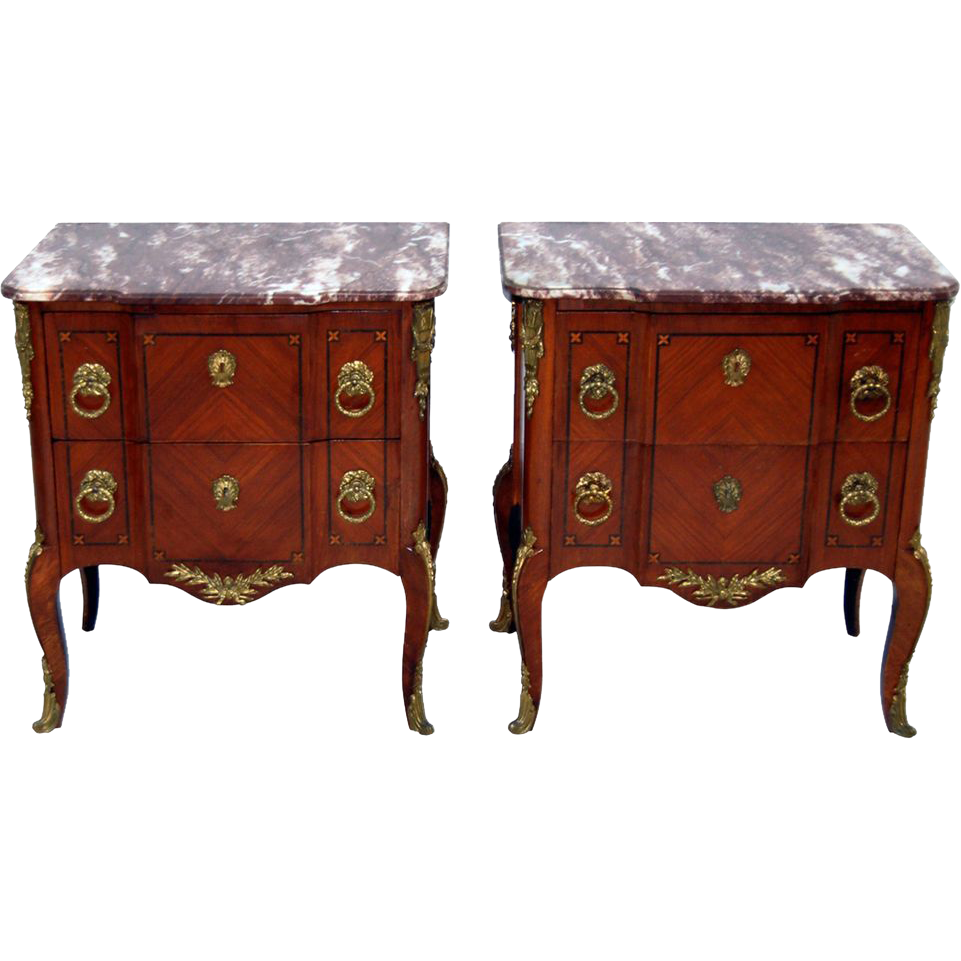 7573 Pair of Antique 19th C. French Empire Commodes