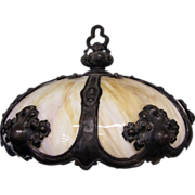 7575 19th C. Victorian Hanging Light with Amber Tinted Milk Glass