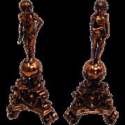 7598 Copper Figural Andirons