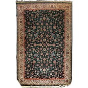 7606 Green Persian Rug Adorned with Flowers c. 1910