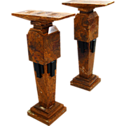 7620 Pair of Art Deco Style Marble Pedestals