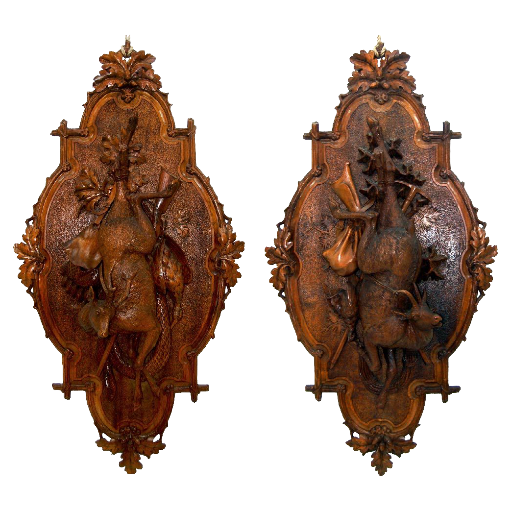 7621 Pair of Antique Carved Wood Black Forest Game Plaques