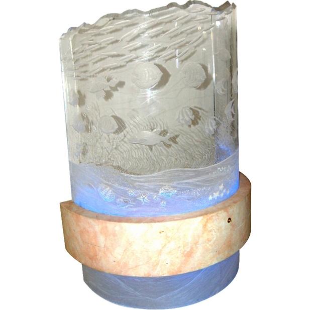 7640 Contemporary Hand Etched PLexi-Glass Aquatic LIght and Sculpture
