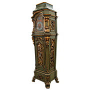 7642 19th C. German Giltwood and Painted Long Case Grandfather Clock with German Polyphon
