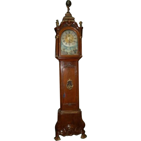 7646 Dutch Long Case Clock Stamped AJ Van Bergh A. Rotterdam