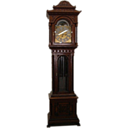 7647 American Victorian Heavily Carved Oak Long Case Grandfather Clock