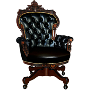 7660 Victorian Inlaid Rosewood Swivel Chair by Pottier & Stymus