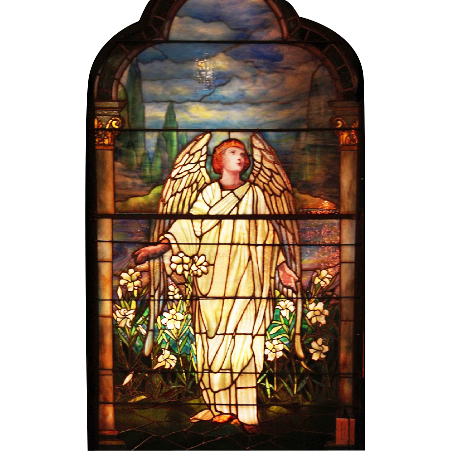 7670 Antique 7'H Tiffany Stained Glass Angel Window