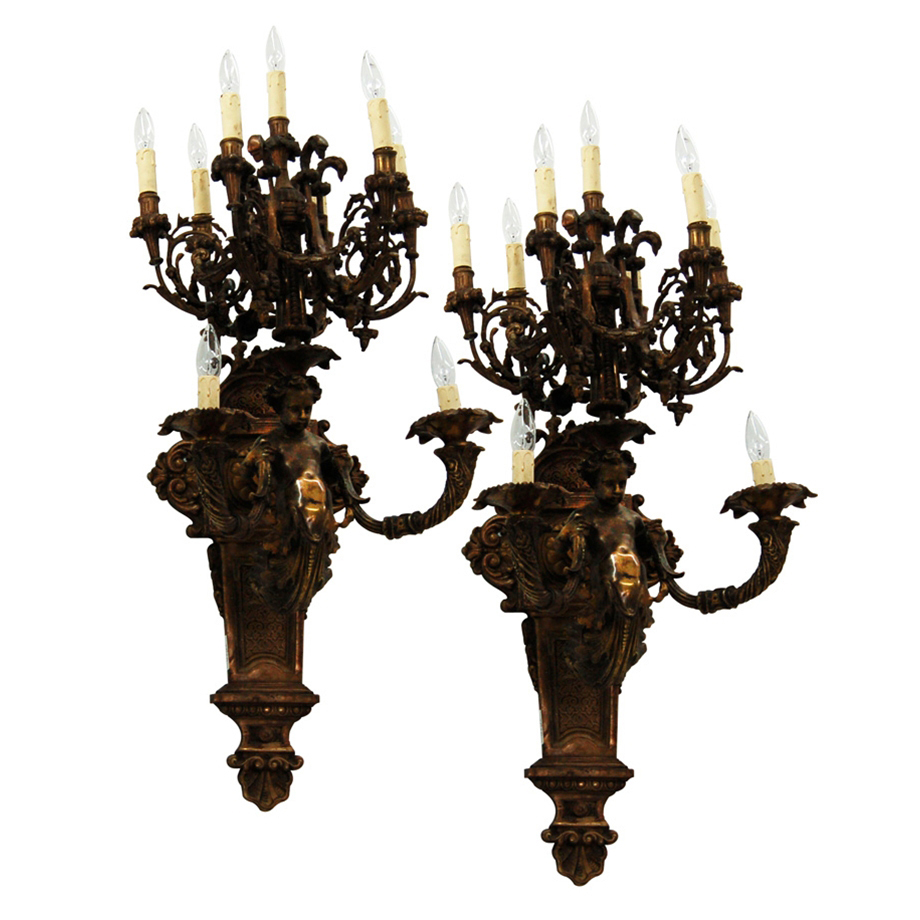 7675 Pair of Antique 19th C. Bronze Cherub Wall Sconces