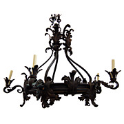 7682 19th C. French Wrought Iron Chandelier