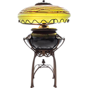 7786 Austrian Iridescent Glass and Cast Metal Table Lamp, c.1900