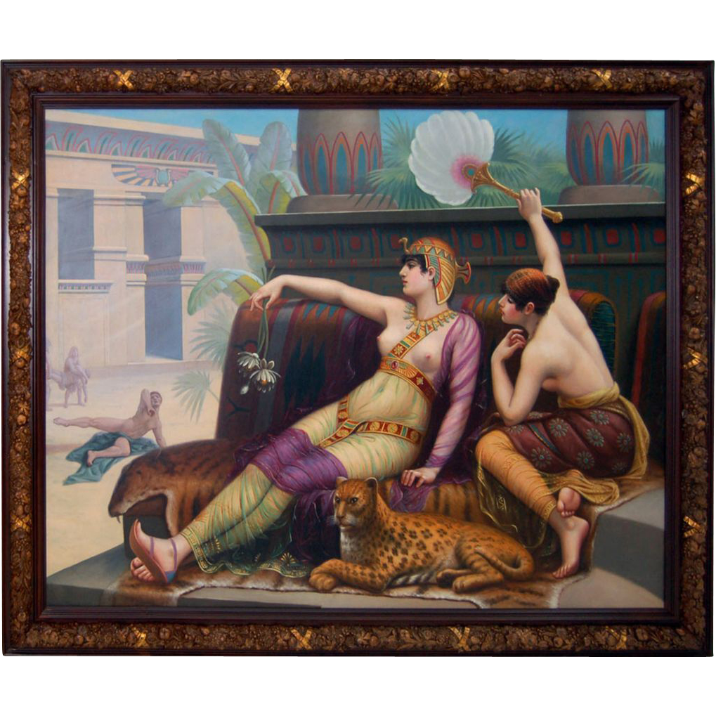 "7688 19th C. 6'x8' Oil on Canvas Study of ""Cleopatra Testing The Poisons"""