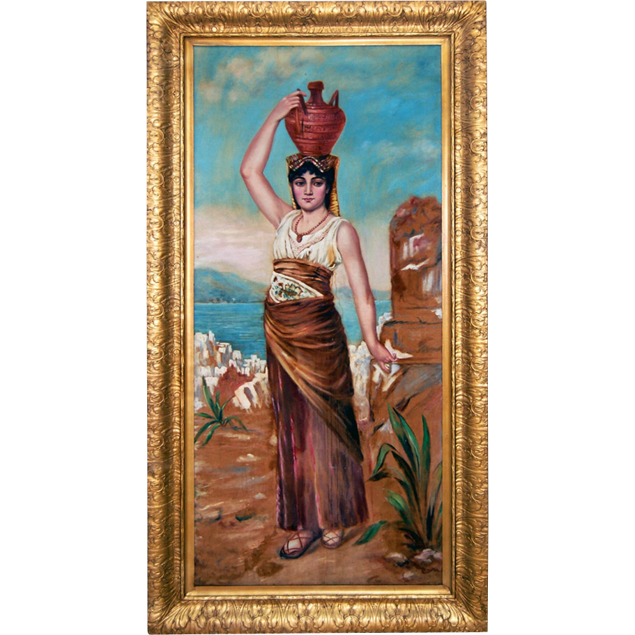 7692 Oil on Canvas Portrait of an Egyptian Woman Carrying an Urn c. 1920
