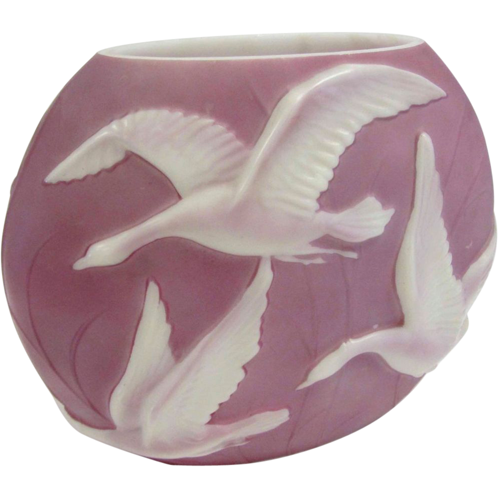 7696 Rare 20th C. Phoenix Glass Vase with Embossed Geese in Flight