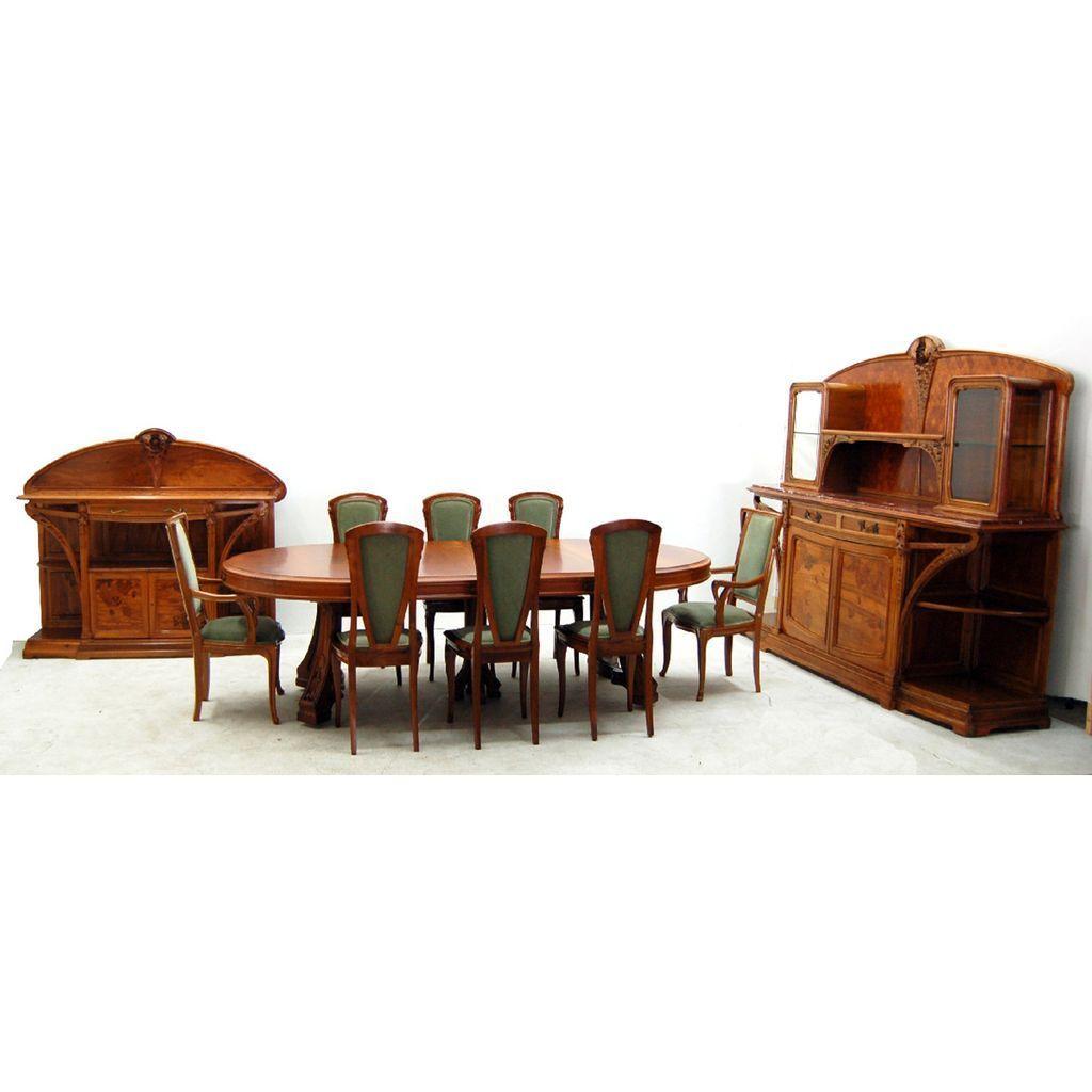 7694 French Art Nouveau Louis Majorelle Signed 11-Piece Dining Set
