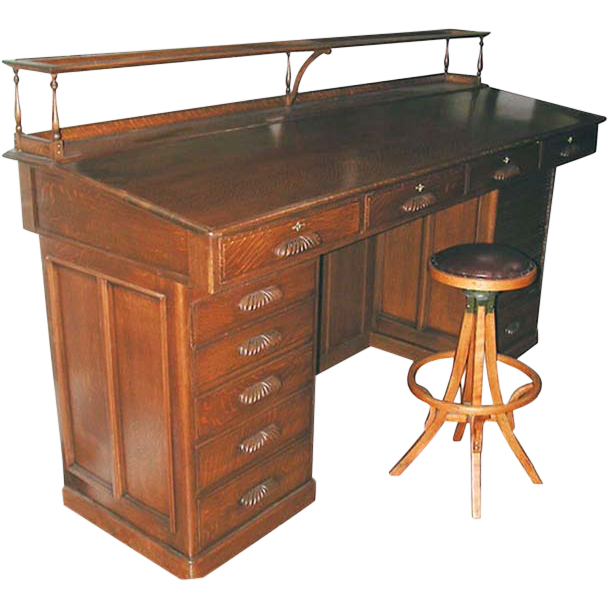 7702 American Oak Architect's Desk c. 1890