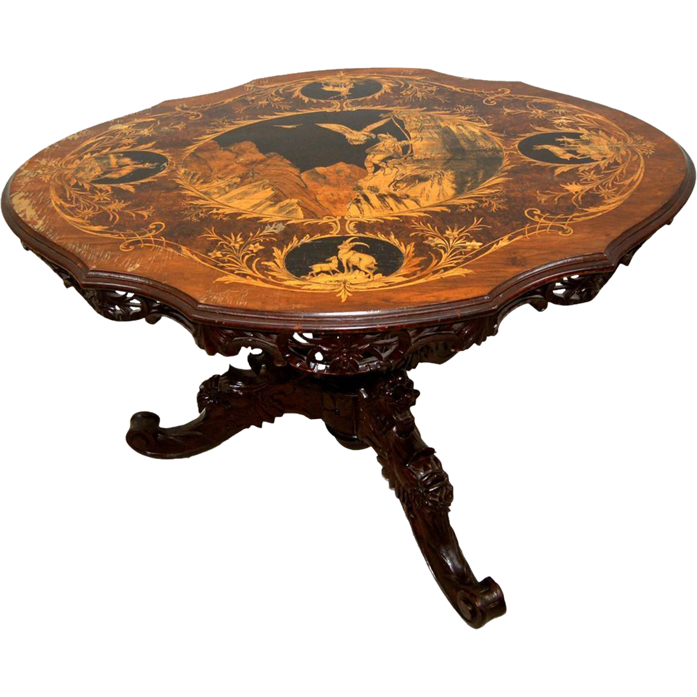 7704 Black Forest Marquetry Table c. 1880