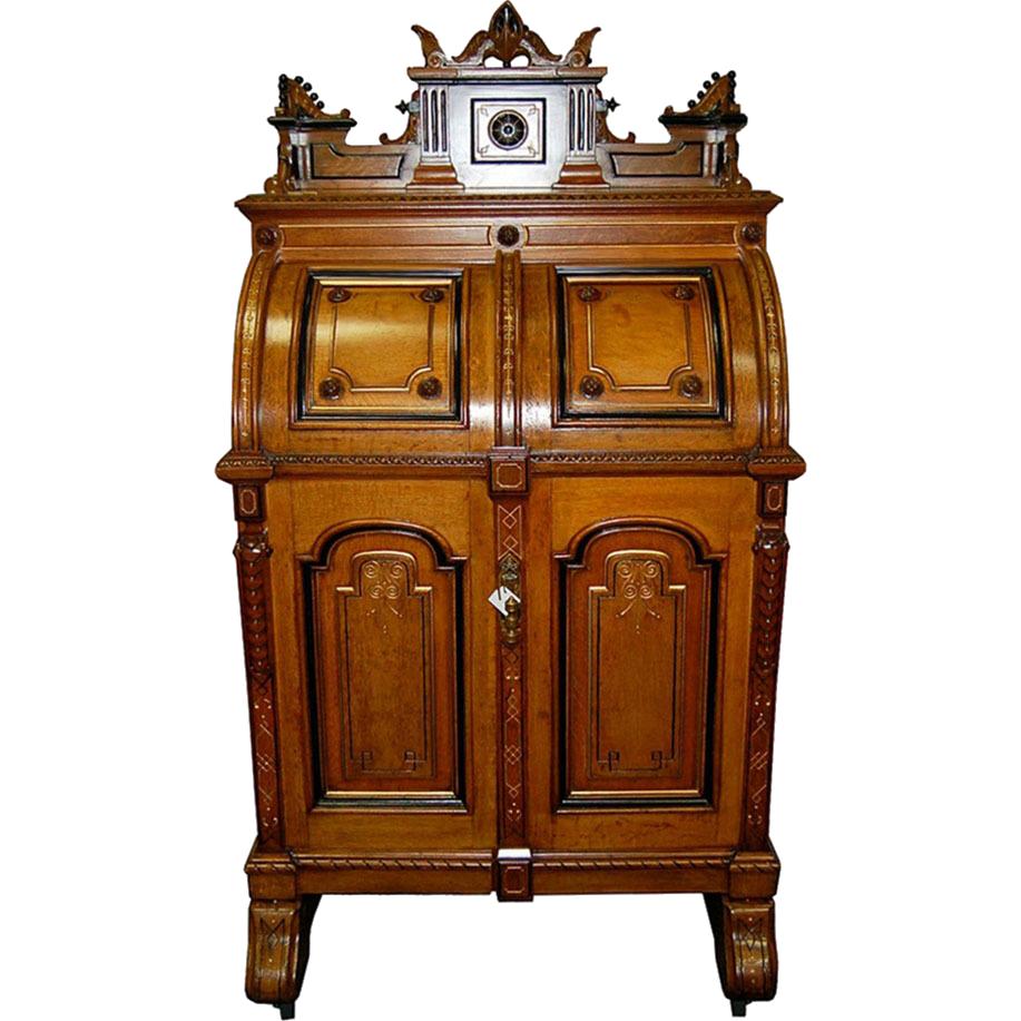 7706 Rare Antique Oak Extra Grade Wooton Patent Secretary Rockefeller Style Desk